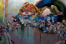 détail d'un tableau de Murakami 2011, Galerie Perrotin Paris
