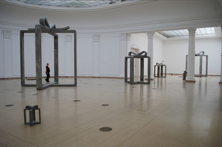 Seven Future Gifts concrete, iron 7 pieces of variable dimensions views at Mucsarnok Kunsthalle Budapest, sept 2008