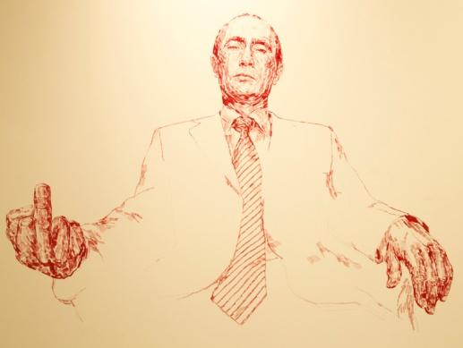 Andrei Molodkin, Putin 2014- ink on canvas